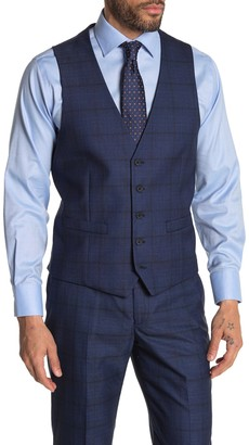 Moss Bros Bright Blue Plaid Regular Fit Suit Separates Vest