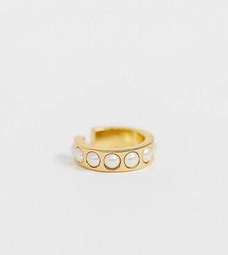 Orelia gold plated faux pearl ear cuff