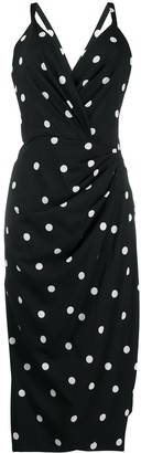 Dolce & Gabbana Polka Dot Draped Fitted Dress