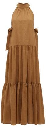 Marysia Swim Molluscs High-neck Cotton-seersucker Dress - Womens - Brown