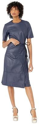 Jason Wu Lambskin Leather Dress with Tie (True Navy) Women's Clothing