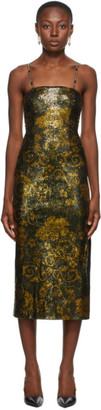 Versace Jeans Couture Black and Gold Glitter Midi Dress