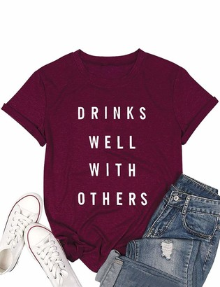 Dresswel Women Drinks Well with Others T-Shirt Crew Neck Short Sleeve T Shirt Summer Tops Tee Wine Red