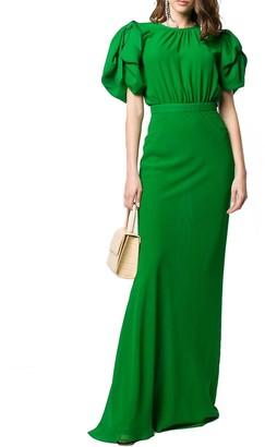 Alessandra Rich Long Green Silk Dress