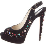 Brian Atwood Embellished Peep-Toe Pumps
