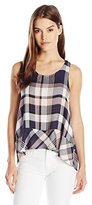 Jack by BB Dakota Women's Roy Drapey Yard Dye Plaid Button Back Top
