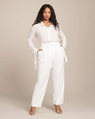 Sally LaPointe Matte Crepe Pleat Front Trouser