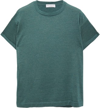 Brunello Cucinelli Metallic Cashmere-blend T-shirt
