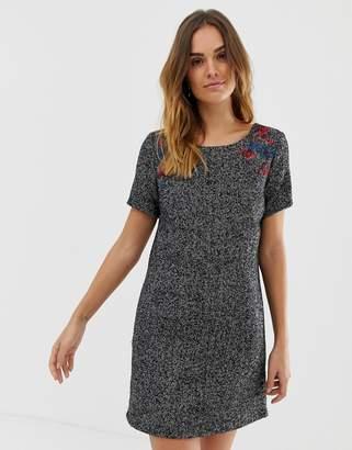 Naf Naf dress with floral embroidery shoulder detail-Grey