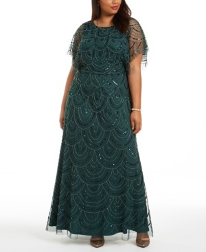 Adrianna Papell Plus Size Beaded Blouson Gown