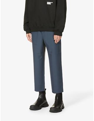 Oamc Drawstring-waistband crepe trousers