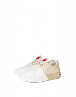 Love Moschino Calfskin And Laminated Nappa Leather Bicolor Sneakers Woman Gold Size 35 It - (5 Us)