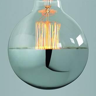 Nostalgia Lights G125-29.ES40.SLVR Super Globe Squirrel Cage Filament Light Bulb with Silver Cap, Glass, E27, 40 W