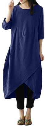 Kobay Dresses for Women v Neck t Shirt Dress Short Sleeve a line midi Dress Ladies Casual Button Down Skater Dress with Pockets Women's Dresses Summer Navy