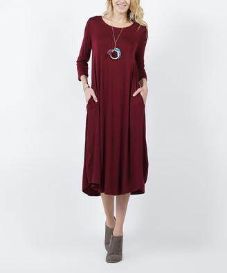Lydiane Women's Casual Dresses DKBURGUNDY - Dark Burgundy Crewneck Three-Quarter Sleeve Pocket Midi Dress - Women & Plus