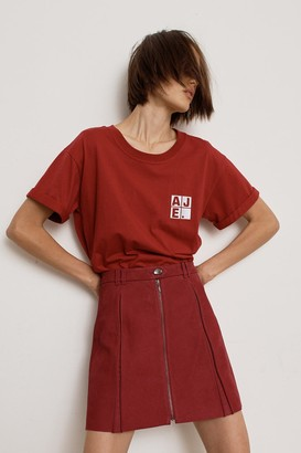 Aje Rebellion Leather Zip Mini Skirt