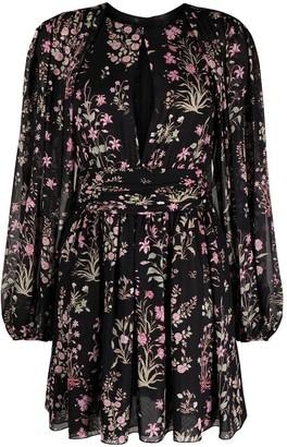 Giambattista Valli Floral-Print Keyhole-Neck Dress