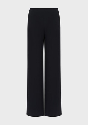 Giorgio Armani Mixed-Silk Cady, Wide-Legged Trousers