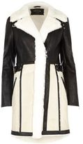 River Island Womens Cream faux suede panel shearling coat