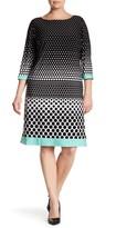 Sandra Darren 3/4 Length Sleeves Polka Dot Dress (Plus Size)