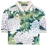 Dolce & Gabbana Floral-printed cropped polo top