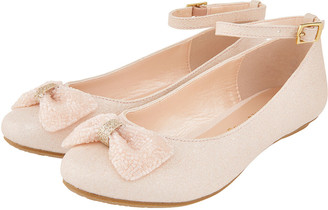 Monsoon Megan Shimmer Ballerina Shoes with Beaded Bow Pink