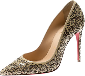 Christian Louboutin Beige Laser Cut Patent Leather And Glitter So Pretty Pointed Toe Pumps Size 36
