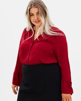 Evans Neru Longline Blouse with Flared Sleeves