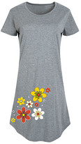Instant Message Women's Women's Tee Shirt Dresses HEATHER - Heather Gray '70s Flowers Short-Sleeve Dress - Women & Plus