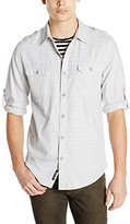 DKNY Men's Long Sleeve Roll Tab Yarn Dye Chambray Shirt