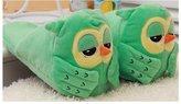 Want Funny Sleepy Eyes Owl Slippers Anti-Slip Plush Slipper Soft Sole for Size 4~8