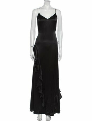 Reformation Silk Long Dress Black