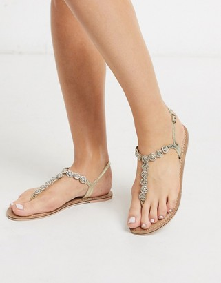 Accessorize Rome jewelled crystal t-bar flat sandals in gold