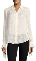 Paige Emberly Button-Front Leopard-Jacquard Silk Blouse