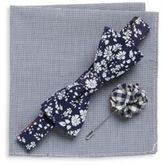 Original Penguin Three-Piece Floral Printed Bow-Tie, Cotton-Blend Pocket Square & Lapel Pin Set