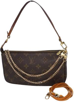 Louis Vuitton Vintage Pochette Accessoire Brown Cloth Clutch Bag