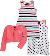 U.S. Polo Assn. Coral Stripe & Polka-Dot A-Line Dress & Shrug - Infant & Toddler