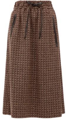 Gucci Leather-drawstring G-jacquard Midi Skirt - Brown