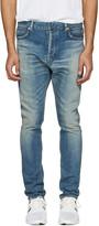 Balmain Blue Distressed Low-Rise Jeans