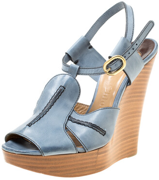 Chloé Blue Leather Peep Toe Platform Wedge Sandals Size 38
