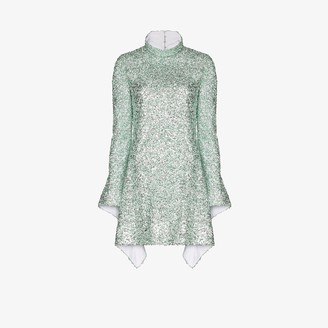Halpern Draped Sequin Mini Dress
