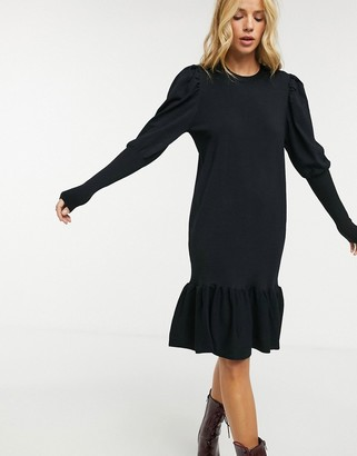 Y.A.S knitted midi dress with puff sleeves and peplum hem in black