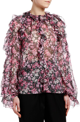 Giambattista Valli Ruffled-Shoulder Floral-Print Chiffon Blouse
