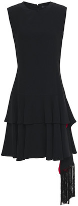 Alexander McQueen Tiered Draped Crepe Mini Dress