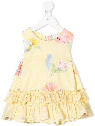 Lapin House Floral-Print Ruffled-Hem Dress