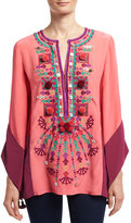 Figue Nala Embroidered Silk Tunic, Pink