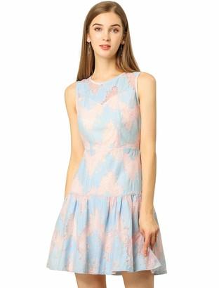 Allegra K Women's Sleeveless A-Line Elegant Ruffle Hem Floral Lace Dress S Blue