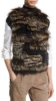 Brunello Cucinelli Patchwork-Fur Cashmere Vest, Volcano