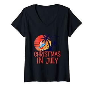 Womens Christmas in July Santa Hawaiian Summer Retro Vintage Gifts V-Neck T-Shirt