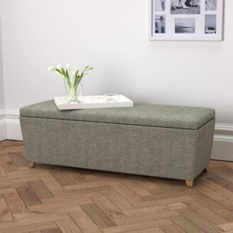 The White Company Langley Ottoman Tweed Natural Oak Leg, Tweed Mid Grey, One Size